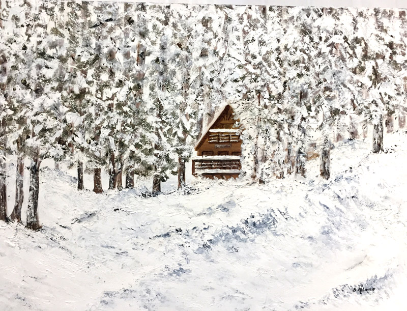 Oil, 2nd Place - Cabin in Winter by Betty Holmes